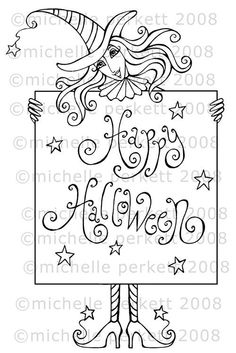 Digital Stamps by Michelle Perkett - Sparkle N Sprinkle Moldes Halloween, Halloween Doodle, Halloween Cards, Free Coloring, Colouring, Relaxing Art, Disney Cards, Halloween Coloring Pages, Digi Stamps