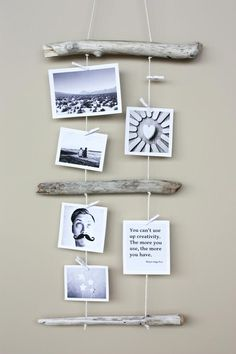 Bilderaufhängung mit Holz für Wand.    DIY Driftwood Crafts : DIY Driftwood Photo Display.  With some woods, make this cool wall art!