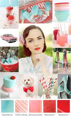 Aquamarine, red and pink