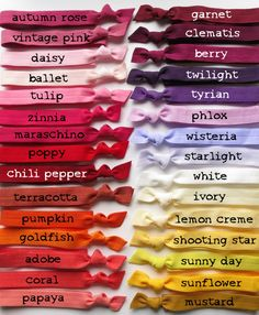 Items similar to Head Bands Pick 1 Color - Stretch Elastic Ribbon - 60 Yummy Choices on Etsy Colour Pallette, Colour Schemes, Color Combinations, Elastic Ribbon, Elastic Headbands, Pantone, Color Mixing Chart, Color Psychology, Colour Board