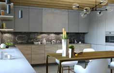 modern-dining-table chalkboard wall in the kitchen. Is it easy to clean it?