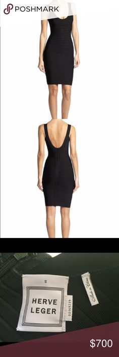 🎉2x HOST PICK🎉 Herve Leger Signature Dress NWOT *host pick 12/5 and 1/10* Brand new without tags, unworn, and in perfect condition Herve Leger Signature Essentials Scoop Neck Dress in black. Dress is a formfitting, banded Herve Leger dress in the label's signature body-con silhouette. Dress has a zip that closes the back, and dress is unlined. Dress retails for $780. Size small fits a size 2/4. Herve Leger Dresses Mini