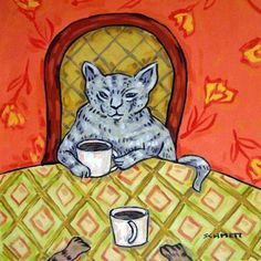 Grey Cat at the Coffee Shop Cat Art Tile Coaster by SCHMETZPETZ