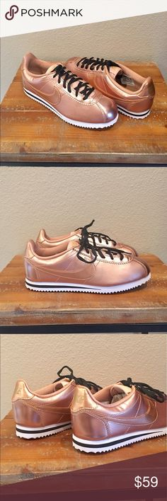 Rose Gold Nike Cortez New with open box, Metallic leather, icoonic Nike Cortez is back and better than ever on the must have list! This retro-inspired sneaker boasts a durable leather upper, along with a full-length foam midsole for maximum comfort. These cute sneakers pair well with everything from leggings to skirts to jeans. Includes both black and rose gold laces. Women's size 7 = 5.5Y. I'm a 7.5 and took a chance on these but they're very true to size. Hard to find! Sizes selling out…