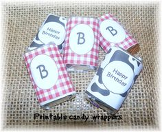 Farm Country Party Printable-mini Hershey candy wrappers-print your own, makes cute table decor