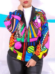 Autumn Printed Zipper Pocket Jacket
