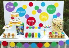 Inside Out Movie Night- simple fun desserts for Inside Out Movie Night, rainbow party or St. Patricks Day