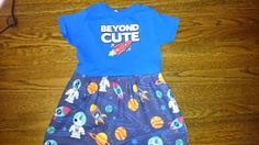Blue Girls Beyond Cute Spaceship Space Dog T-shirt Party Dress - Size 4/5