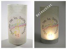 """Tischlicht Lichthülle Kommunion """"..Gottes Melodie"""" von Reizvolle Karten und mehr auf DaWanda.com"""