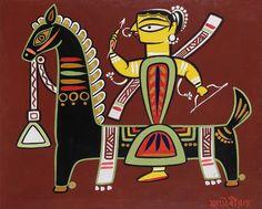 The Discerning Eye: Bangalore Live Auction 2015 -Lot 5 -Jamini Roy Madhubani Art, Madhubani Painting, Indian Folk Art, Indian Artist, Indian Art Paintings, Old Paintings, Abstract Paintings, Om Namah Shivaya, Jamini Roy