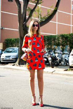 Milan Fashion Week Spring 2014. Prints in street style