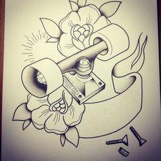 Skateboard tattoo flah watercolor in progress! Soon in our etsy!!!