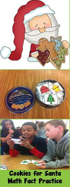 Math Fact Practice made fun with this Cookies for Santa themed Kaboom game