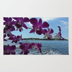 ORCHIDS ON BOARD Area & Throw Rug by Annie Koh - $28.00