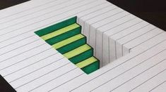 How to draw 3D steps in a hole on line paper. Easy fun trick art drawing exercise for both kids and adults. Get My First Optical Illusion Book! (step by step...