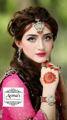 Wedding Hijab Styles, Pakistani Wedding Dresses, Bridal Makeup, Wedding Makeup, Bridal Hair, Beautiful Indian Actress, Beautiful Bride, Tikka Hairstyle, Round Mehndi Design