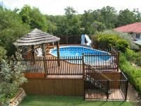 above ground pool deck  good idea for us white trash.