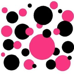 Set of 130 Hot Pink and Black Polka Dots Wall Graphic Vinyl Lettering Decal Stickers Wall Decal