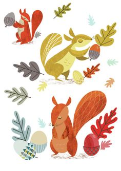 Suzanne Khushi - Retro Squirrels