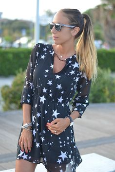 Star printed dress