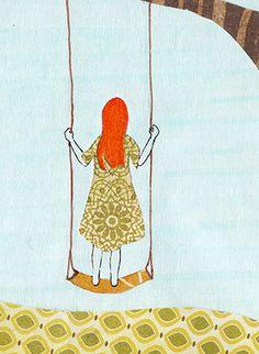 Girl on a Swing. Print of an original by IllustratedByAnya on Etsy