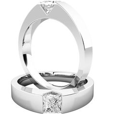 A striking tension set Princess Cut diamond ring in 18ct white gold | Purely Diamonds