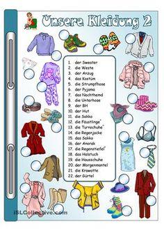 Arbeitsblatt: Bild-Wort-Zuordnung + Gitterrätsel mit 2 Differenzierungen/ SchwierigkeitsstufenWortschatz: Kleidung (22 Begriffe)Umfang: 4 SeitenIch hoffe, es gefällt euch  ; ) - DaF Arbeitsblätter