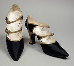 Hellstern & Sons (France, Paris)  Pair of Woman's Bar Shoes, circa 1918  Costume/clothing accessory/footwear, Silk satin, leather, 9 1/2 x 2 3/4 x 4 1/2 in. (24.13 x 6.98 x 11.43 cm) each  From the Collection of Mme. Ganna Walska, gift of Hania P. Tallmadge (M.86.411.262a-b)