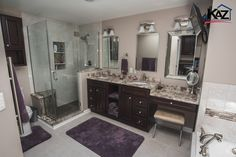 Large Master Bathroom by Kaz Companies in Buffalo, NY. Haas Cabinets, Federal…