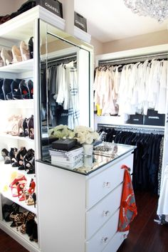 You've pared down, cleaned out and still can't fit your things into your closet? Here are ten ways to squeeze a little extra storage out of a small closet. Wardrobe Storage, Wardrobe Closet, Closet Bedroom, Closet Space, Closet Storage, Walk In Closet, Closet Organization, Best Closet Systems, Dressing Room Closet