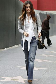 Rachel Bilson does dress down White Shirt and Jeans.