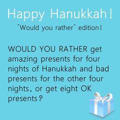 Happy Hanukkah! Would you rather edition! #happyhanukkah #wouldyourather