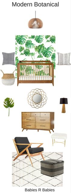 A beautiful and serene emerald green modern botanical nursery design
