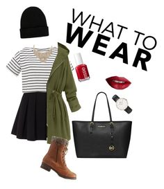"""""""Grunge/hipster#5"""" by jajina-morongova ❤ liked on Polyvore featuring Polo Ralph Lauren, Charlotte Russe, MICHAEL Michael Kors, NLY Accessories, Daniel Wellington, Bebe, Essie and TheBalm"""