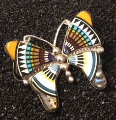"""Butterflies are simply gorgeous and this huge pendant represents their beauty. Sterling Silver Pendant measuring 2.5"""" in length and 2"""" wide. It is Inlaid with a gorgeous Spiny Oyster, White Turquoise, Abalone Shell, Lapis and more.   eBay!"""