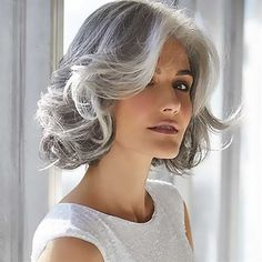 The Amal Synthetic Wig by Rene of Paris is a shaggy bob with loose, romantic curls and softly layered fringe. Curly Hair White Girl, Short Grey Hair, White Hair, Black Hair, Grey Hair Bob, Grey Hair Model, Short Silver Hair, Silver Wigs, Choppy Bob Hairstyles