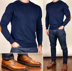 Smart Casual 🤓👌🏼🔥 I like these elbow patch sweaters and dress shoes so much that I picked up both in every color available. Mode Masculine, Trajes Business Casual, Mens Business Casual Jeans, Elbow Patch Sweater, Elbow Patches, Herren Outfit, Fashion Images, Mens Suits, Men Dress