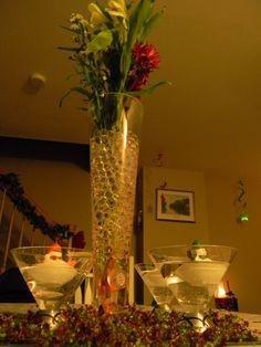 Closer Shot From Under Vase.....  Gel Beads In Water WX-Mas Floral Arrangement
