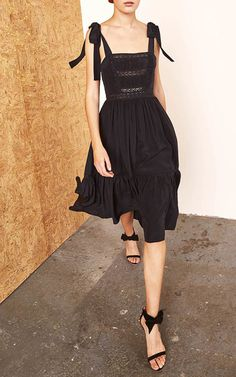 Black Bow Shoulder Midi Dress by Ulla Johnson | Moda Operandi