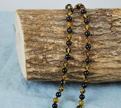 Genuine Baltic Amber Mala Round Amber Beads Black by AmberGiftLT