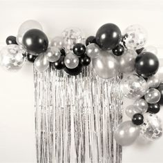Black and Silver Balloon Garland Arch Decoration Kit, Balloon Garland Backdrop, Balloon Cloud Kit Balloon Arch Diy, Balloon Clouds, Balloon Garland, Balloon Pump, Balloon Ideas, Silver Party Decorations, Balloon Decorations, Birthday Party Decorations, Black And White Party Decorations
