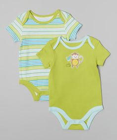 Loving this Bright Chartreuse Stripe & Monkey Bodysuit Set - Infant on #zulily! #zulilyfinds