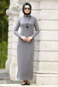 Neva Style - Gray Dress with Necklace . Wedding Dress Sleeves, Bridal Wedding Dresses, Dresses With Sleeves, Berta Bridal, Grey Fashion, Hijab Fashion, Fashion Dresses, The Dress, Gray Dress