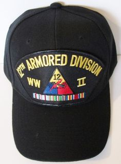 12TH ARMORED DIVISION  WAR II  W/ CAMPAIGN RIBBON BALL CAP/HAT #MILPRO #BallCap