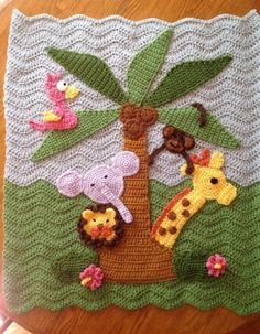 Custom Jungle Theme Crochet Baby Blanket with Giraffe Lion Baby Afghan Crochet, Baby Afghans, Crochet Blanket Patterns, Crochet Stitches, Baby Blankets, Crochet Crafts, Crochet Toys, Crochet Projects, Knit Crochet