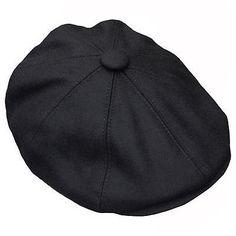G /& H Kids Black Wool Peaky Blinders Style Flat Cap Hat
