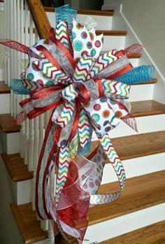 Christmas Tree Topper Bow Holiday Deluxe Three Ribbon Christmas Mailbox Swag Bow-Red Lime Green and Turquoise Deco Mesh Tree Topper by SouthernWreathsAL on Etsy Diy Christmas Tree Topper, Ribbon On Christmas Tree, Christmas Bows, Christmas Projects, Holiday Crafts, Christmas Time, Christmas Decorations, Xmas, Whimsical Christmas