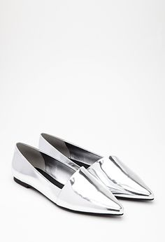 Silver Patent Metallic Faux Patent Leather Loafer Flats   FOREVER21 - 2000080296 $25