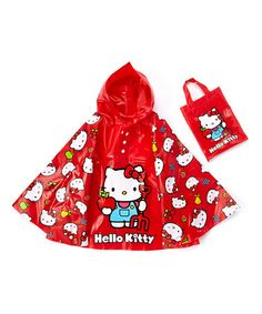 Red Hello Kitty Rain Poncho & Tote. Waterproof vinyl fabric featuring a favorite character keeps little ones dry while brightening up a rainy day. The handy tote make it easy to bring along on those just-in-case days. Tote [6'' W x 9'' H] Vinyl. Ages 5 & up $11.99 [Large Photo] http://mcdn.zulilyinc.com/media/catalog/product//116769/zu24849224_main_tm1426713868.jpg