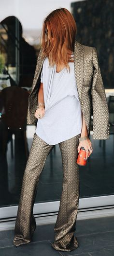 Satiny Printed Suit Chic Style by MAJA WYH